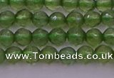 CTG512 15.5 inches 4mm faceted round tiny green apatite beads