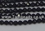 CTG644 15.5 inches 3mm faceted round black tourmaline beads