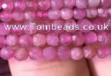 CTG706 15.5 inches 3mm faceted round tiny pink tourmaline beads