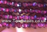 CTG805 15.5 inches 3mm faceted round tiny purple garnet beads