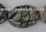CTJ225 15.5 inches 25*35mm oval black water jasper beads wholesale