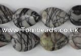 CTJ230 15.5 inches 13*18mm flat teardrop black water jasper beads