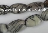 CTJ238 15.5 inches 12*18mm flat drum black water jasper beads