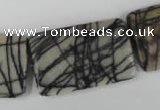 CTJ260 15.5 inches 20*30mm flat tube black water jasper beads