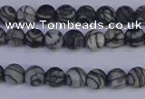 CTJ400 15.5 inches 4mm round matte black water jasper beads