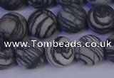 CTJ404 15.5 inches 12mm round matte black water jasper beads