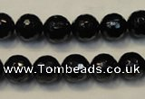 CTO109 15.5 inches 10mm faceted round natural black tourmaline beads