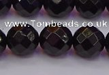 CTO139 15.5 inches 12mm faceted round black tourmaline beads