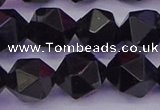 CTO648 15.5 inches 12mm faceted nuggets black tourmaline beads