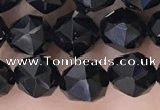 CTO717 15.5 inches 8mm faceted nuggets black tourmaline beads