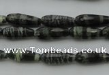 CTR10 15.5 inches 6*16mm faceted teardrop green silver line jasper beads