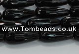 CTR109 15.5 inches 8*20mm faceted teardrop black agate beads