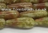 CTR152 15.5 inches 6*16mm teardrop green dragon serpentine jasper beads
