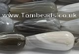 CTR154 15.5 inches 8*20mm faceted teardrop grey Botswana agate beads