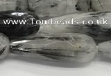 CTR156 15.5 inches 10*30mm faceted teardrop black rutilated quartz beads