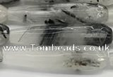 CTR157 15.5 inches 10*40mm faceted teardrop black rutilated quartz beads