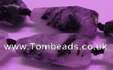 CTR207 16*35mm - 18*43mm faceted teardrop black rutilated quartz beads