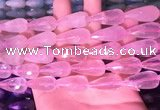 CTR305 15.5 inches 10*25mm faceted teardrop rose quartz beads