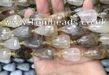 CTR353 15.5 inches 15*25mm faceted teardrop scenic quartz beads