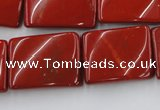 CTW399 15.5 inches 18*25mm twisted rectangle red jasper beads