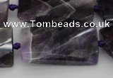 CTW453 20*38mm faceted & twisted rectangle dogtooth amethyst beads