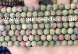CUG191 15.5 inches 6mm round matte unakite beads wholesale