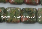 CUG60 16 inches 20*20mm square natural unakite gemstone beads wholesale
