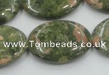 CUG63 16 inches 22*30mm oval natural unakite gemstone beads wholesale