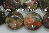 CUJ01 15.5 inches 20mm flat round autumn jasper gemstone beads