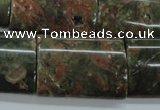 CUJ10 15.5 inches 22*30mm flat tube autumn jasper gemstone beads