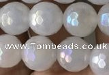 CWH61 15.5 inches 8mm faceted round AB-color white jade beads
