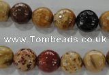 CWJ305 15.5 inches 11mm faceted round wood jasper gemstone beads