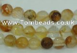 CYC113 15.5 inches 8mm faceted round yellow crystal quartz beads