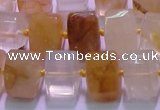 CYC138 15.5 inches 11*15*15mm faceted triangle yellow quartz beads