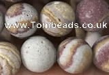 CZJ287 15.5 inches 8mm round matte red zebra jasper beads