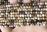 CZJ290 15.5 inches 4mm round brown zebra jasper beads wholesale