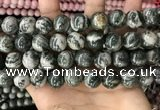 CZJ415 15.5 inches 14mm round green zebra jasper beads wholesale
