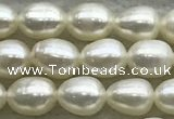 FWP163 14.5 inches 4.2mm - 4.8mm rice white freshwater pearl strands
