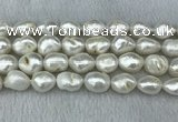 FWP312 15 inches 12mm - 13mm baroque white freshwater pearl strands