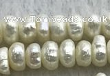 FWP320 14.5 inches 5.2mm button white freshwater pearl strands
