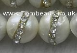 FWP345 9mm - 10mm potato white freshwater pearl with rhinestone beads