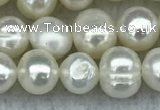 FWP35 14.5 inches 5mm - 6mm potato white freshwater pearl strands
