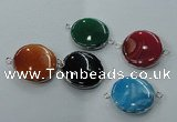 NGC77 25mm - 26mm flat round agate gemstone connectors wholesale