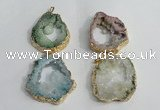 NGP1425 30*45mm - 45*55mm freeform plated druzy agate pendants