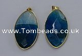 NGP3288 33*55mm faceted marquise agate gemstone pendants wholesale