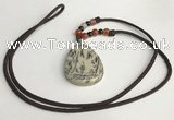 NGP5628 Jasper flat teardrop pendant with nylon cord necklace