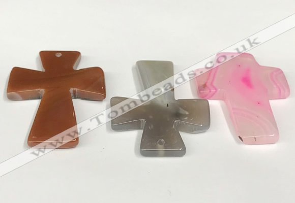 NGP5812 40*55mm cross agate gemstone pendants wholesale