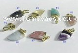 NGP9721 11*16mm horn-shaped  mixed gemstone pendants wholesale