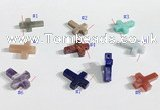 NGP9735 13*18mm cross-shaped  mixed gemstone pendants wholesale