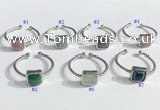 NGR1112 8mm square  mixed gemstone rings wholesale